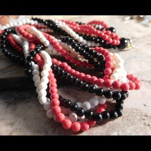 Jewelry - Muti Strand Red Black White Beaded Necklace